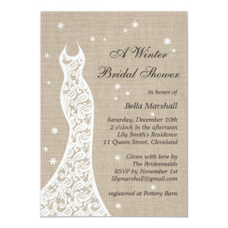 Beautiful Burlap Winter Bridal Shower Invitation Invitation
