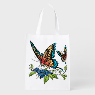 Beautiful Butterflies Art Customizable background Grocery Bags
