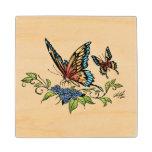 Beautiful Butterflies Art Customizable background Wood Coaster