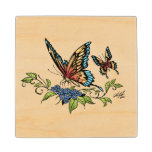 Beautiful Butterflies Art Customizable background Wooden Coaster