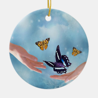 Beautiful Butterflies Double-Sided Ceramic Round Christmas Ornament