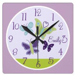 Beautiful Butterflies Kid's Baby Nursery Clock