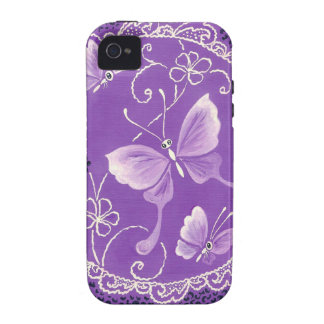 Beautiful  Butterflies with Lace in Purple iPhone 4/4S Cases