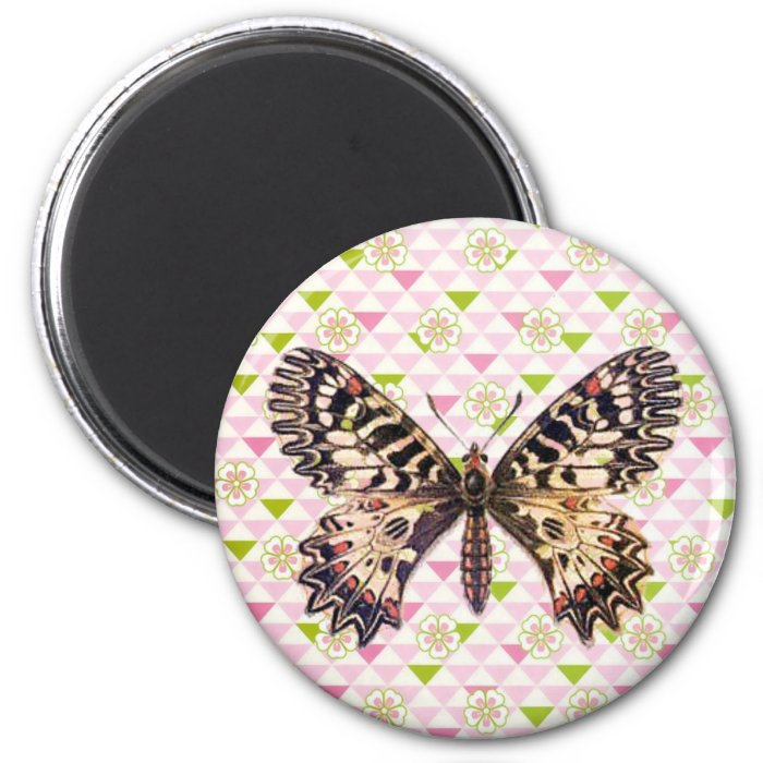 Beautiful Butterfly 2 Inch Round Magnet