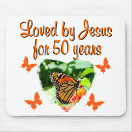 BEAUTIFUL BUTTERFLY 50TH BIRTHDAY DESIGN MOUSE PAD