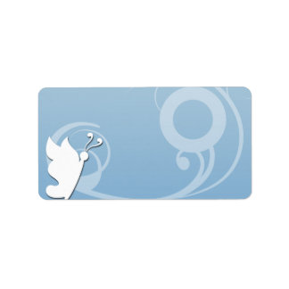 Beautiful butterfly and swirls on blue texture address label