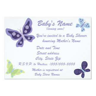 Beautiful Butterfly Baby Shower Invitations