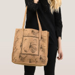 Beautiful Butterfly Brown Tan Leather Tote