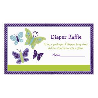 Beautiful Butterfly Diaper Raffle Tickets Business Card