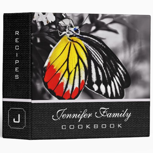Beautiful Butterfly Family Recipes Vinyl Binder