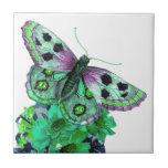 Beautiful Butterfly Flower Ceramic Tile