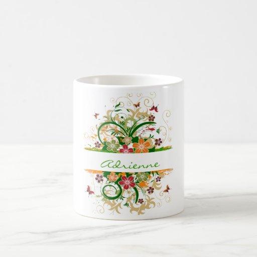 beautiful butterfly flower green, Adrienne Coffee Mugs