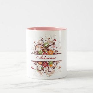 beautiful butterfly flower Two-Tone coffee mug