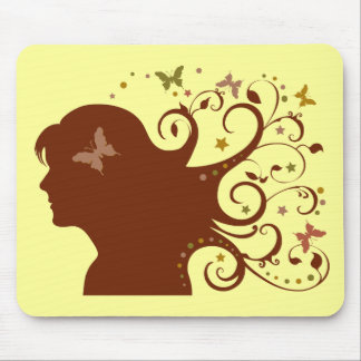 Beautiful Butterfly Lady Mouse Pads
