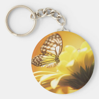 Beautiful Butterfly on a Flower Basic Round Button Keychain