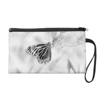 Beautiful Butterfly on flower - Black and White Wristlet