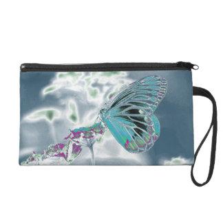 Beautiful Butterfly on flower - Negative Photo 2 Wristlet