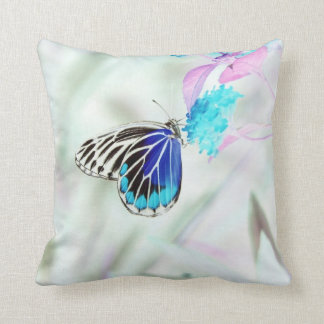 Beautiful Butterfly on flower - Negative Photo Throw Pillow