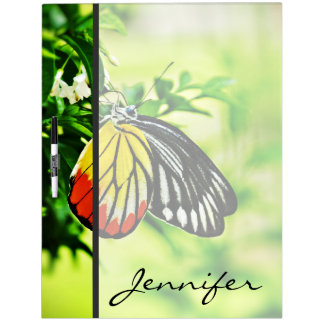 Beautiful Butterfly on Flowers Dry Erase Board