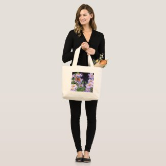 Beautiful Butterfly On Flowers Large Tote Bag