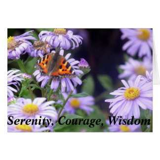 Beautiful Butterfly On Flowers Serenity Card