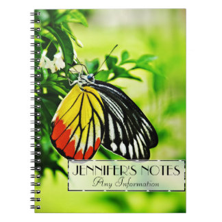 Beautiful Butterfly on Flowers Spiral Notebook