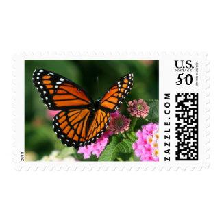 Beautiful Butterfly on Lantana Flower Postage