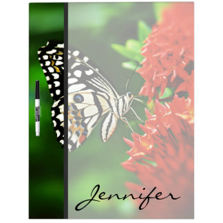 Beautiful Butterfly on Red Flowers Dry Erase Board