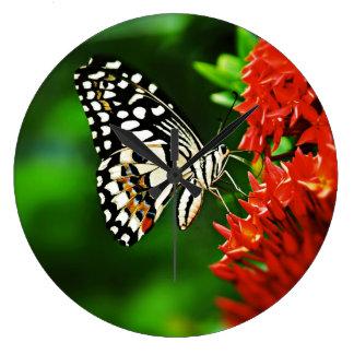 Beautiful Butterfly on Red Flowers Wall Clocks