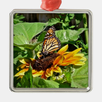 Beautiful Butterfly on Sunflower Photo Metal Ornament