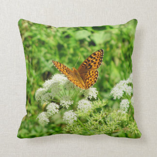 Beautiful Butterfly on White Flowers Throw Pillow