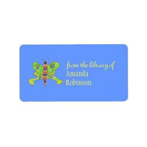 Beautiful butterfly personalized bookplate custom address labels