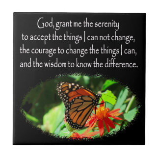 BEAUTIFUL BUTTERFLY PHOTO SERENITY PRAYER DESIGN CERAMIC TILE