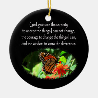 BEAUTIFUL BUTTERFLY PHOTO SERENITY PRAYER DESIGN Double-Sided CERAMIC ROUND CHRISTMAS ORNAMENT