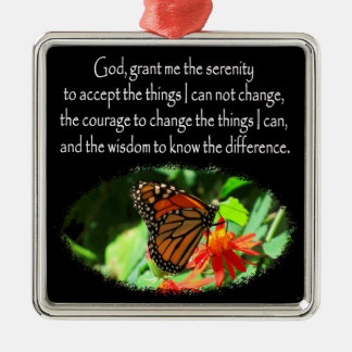 BEAUTIFUL BUTTERFLY PHOTO SERENITY PRAYER DESIGN METAL ORNAMENT