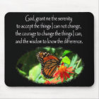 BEAUTIFUL BUTTERFLY PHOTO SERENITY PRAYER DESIGN MOUSE PAD