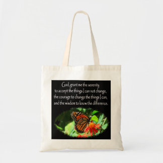 BEAUTIFUL BUTTERFLY PHOTO SERENITY PRAYER DESIGN TOTE BAG