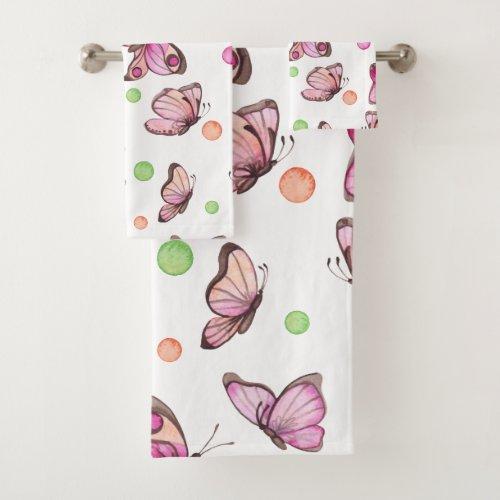 Beautiful Butterfly & Polka Dots - Bath Towel Set
