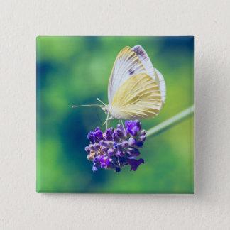 Beautiful Butterfly Purple Flower Nature Scenery Pinback Button