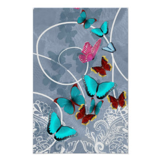 Beautiful butterfly rustic lace illustration poster