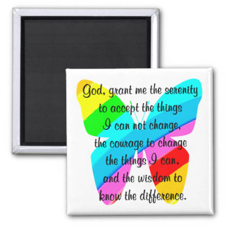 BEAUTIFUL BUTTERFLY SERENITY PRAYER DESIGN 2 INCH SQUARE MAGNET