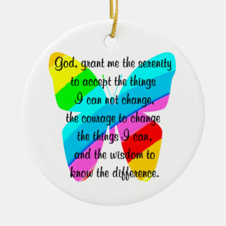 BEAUTIFUL BUTTERFLY SERENITY PRAYER DESIGN Double-Sided CERAMIC ROUND CHRISTMAS ORNAMENT