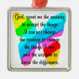 BEAUTIFUL BUTTERFLY SERENITY PRAYER DESIGN METAL ORNAMENT