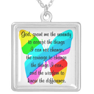 BEAUTIFUL BUTTERFLY SERENITY PRAYER DESIGN SQUARE PENDANT NECKLACE