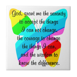 BEAUTIFUL BUTTERFLY SERENITY PRAYER DESIGN TILE