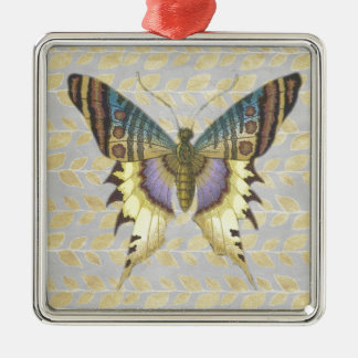 Beautiful Butterfly Square Metal Christmas Ornament