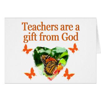 BEAUTIFUL BUTTERFLY TEACHERS PRAYER DESIGN CARD