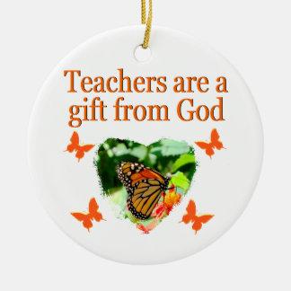 BEAUTIFUL BUTTERFLY TEACHERS PRAYER DESIGN CERAMIC ORNAMENT