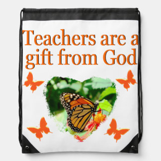 BEAUTIFUL BUTTERFLY TEACHERS PRAYER DESIGN DRAWSTRING BACKPACK