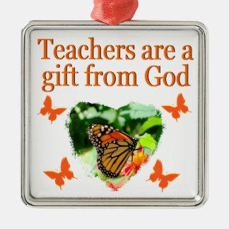BEAUTIFUL BUTTERFLY TEACHERS PRAYER DESIGN METAL ORNAMENT